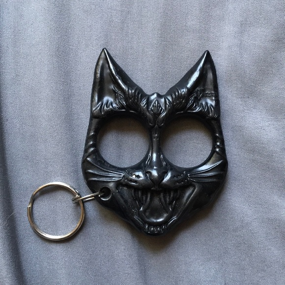 Betsey Johnson Accessories Fight Back Black Cat Defense Keychain